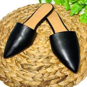 J Crew Leather Mule Black Pointed Toe Slides 7
